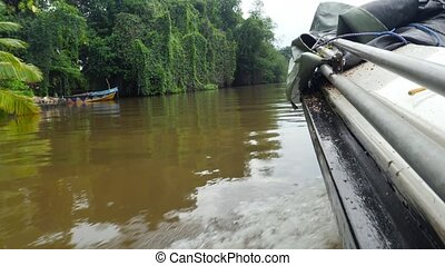 view from the water on motorboat side sailing on tropcial river in jungle forest