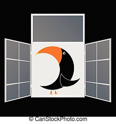 view from the window from the parrot vector illustration