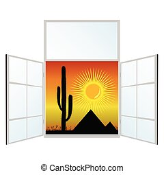 view from the window from the pyramids vector illustration