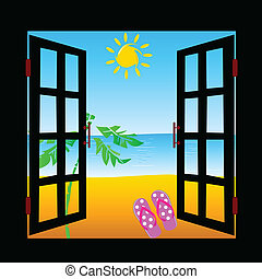 view from the window fron the beach vector illustration