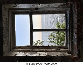 view from the window of the house against the background of the sea