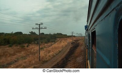 View from the window of the passing train