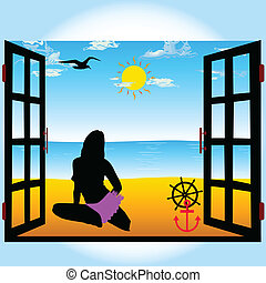 view from the window on the beach and girl vector illustration