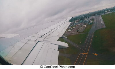 View from the Window on the Wing of a Passenger Aircraft...