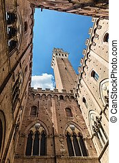 View from the yard of Palazzo Pubblico in Siena.