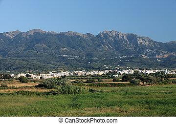view from Tigaki on the Zia village . Kos island