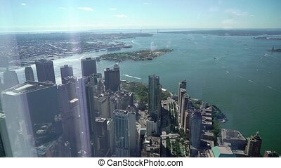 View from top at towers skyscrapers in New York city USA. Downtown financial center at Manhattan.