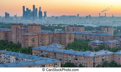 View from top of cityscape timelapse, residential buildings,...