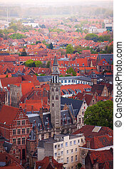 View from top of the Bruges cityscape in summer