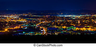 View from Top of the World at night, in York, Pennsylvania.