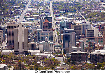 View from top of Utah Capitol building, USA