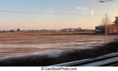 View from train on winter Italy