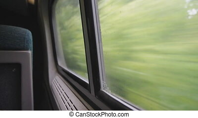 Looking out the window of a speeding train. Green trees rushing by.