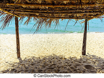 View From Under A Bamboo Hut At The Beach