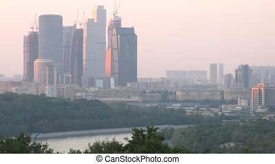 View from Vorobievy Mountains on Business center Moscow City