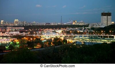 View from Vorobyovy Hills, metro bridge with station on it,...