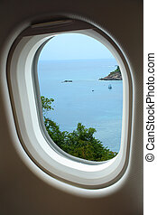 View from window with airplane