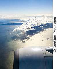 View from Windowseat over the Wing of Airline Jet