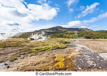 view Haukadalur geyser area in Iceland in autumn - travel to...