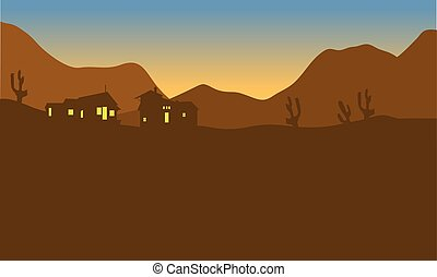 View house on the mountains of silhouette