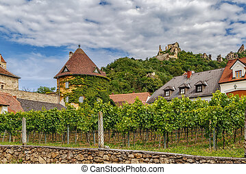 view in Durnstein, Austria - view of Durnstein Castle and ...