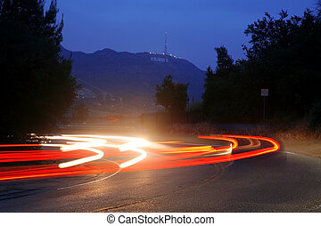 view in night from Mulholland Drive to Hollywood Hills , Los...