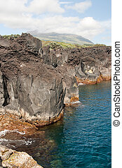 view in ocean and rocks in Azores
