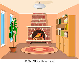 View in room with fireplace