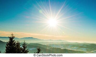 View in sundown winter mountain, timelapse - Winter in...