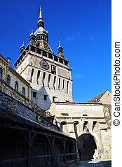 View in the morning of the Clock Tower at Sighisoara Citadel in Transylvania, Romania, saxon landmark