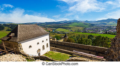 view in to the valley fro the castle wall - Stara Lubovna,...