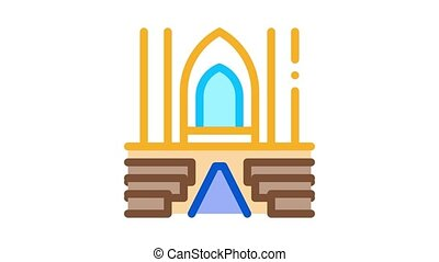 view inside catholic church Icon Animation