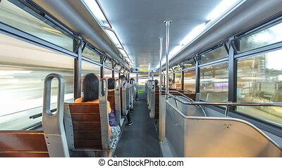 View inside double-decker tram on street of HK timelapse hyperlapse.