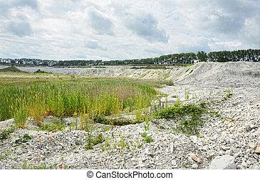view into a chalk mine. quarry