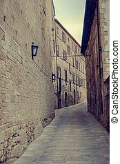 View into ancient street of Urbino town