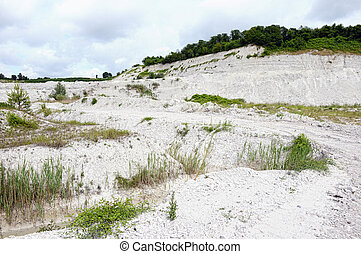 view into chalk rock quarry mine