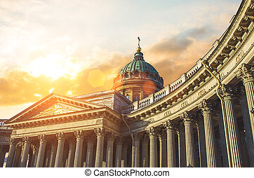 View Kazan Cathedral in Saint Petersburg evening sunset sky