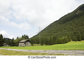 View landscape and agricultural field with Electricity voltage post or Utility pole in countryside