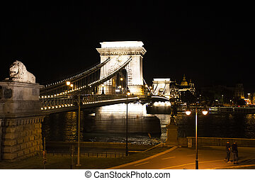 View landscape and cityscape of Old town city and Hungarian Parliament with Danube Delta river and Buda Chain Bridge in night time in Budapest, Hungary