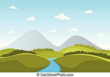 View landscape nature mountain vector for poster, background or wallpaper