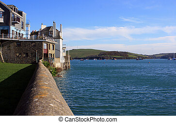 Salcombe - View looking along a harbour side wall towards...