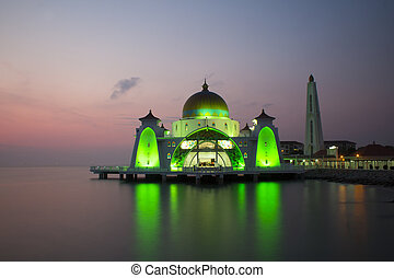 Malacca Straits Mosque - view Malacca Straits Mosque during...