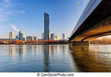 View modern city with Danube river in Vienna, Austria