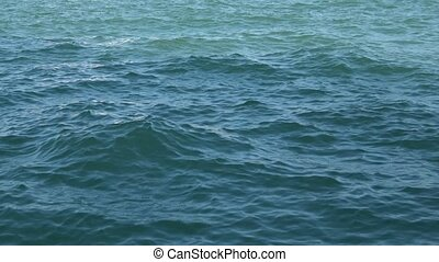 View motion dark blue waves on water