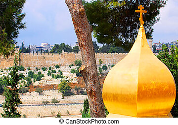 View n the Wall of the Old City of Jerusalem from Church of Mary Magdalene, Israel