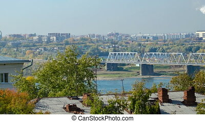 View Novosibirsk railway bridge in the autumn. Time lapse