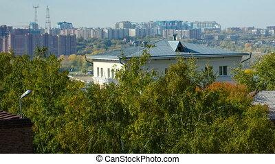 View Novosibirsk railway bridge in the autumn. Time lapse