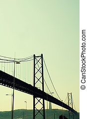 View of 25th of April Bridge in Lisbon, Portugal