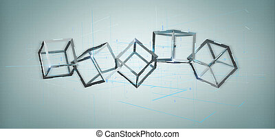 3d rendering blockchain cube isolated on a background
