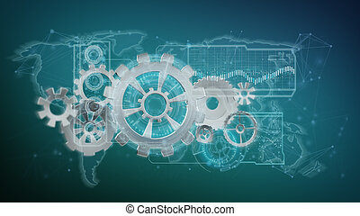 3d rendering gear wheel interface isolated on a background